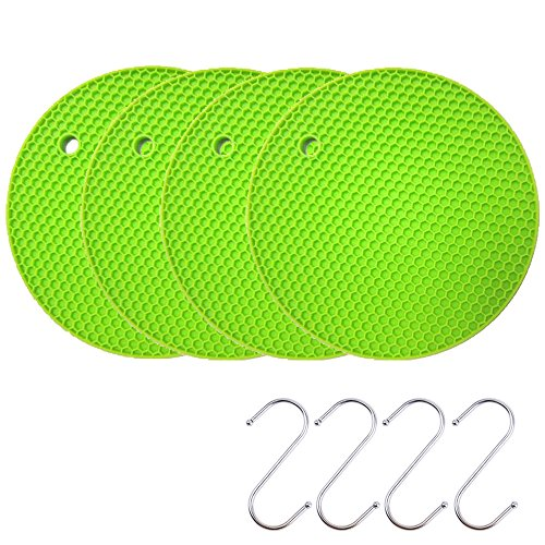 Silicone Coasters Pot Holder Cup Mat,Non Slip Flexible Durable Heat Resistant Hot Pad Green (4 pieces)