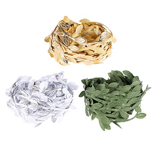 SUPVOX 3PCS 5 Meters Green Leaf Trim Ribbon DIY Craft Wedding Christmas Party Hanging Decorations (Golden Silver and ()