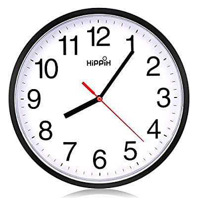 Hippih clock Black Wall Clock Silent Non Ticking Quality Quartz (1- Red) - Easy to Read - Simple style design, large and clear black bold numbers display on white face can be easily watched. Silent Non-ticking - The high-quality quartz movement mechanism for precise time, quiet sweep second hand provide a good sleep and work environment. Battery Operated - Powered by 1 AA battery, ordinary Carbon Zinc battery, not Alkaline battery makes sure work better( not included). - wall-clocks, living-room-decor, living-room - 51ojOZcquUL. SS400  -