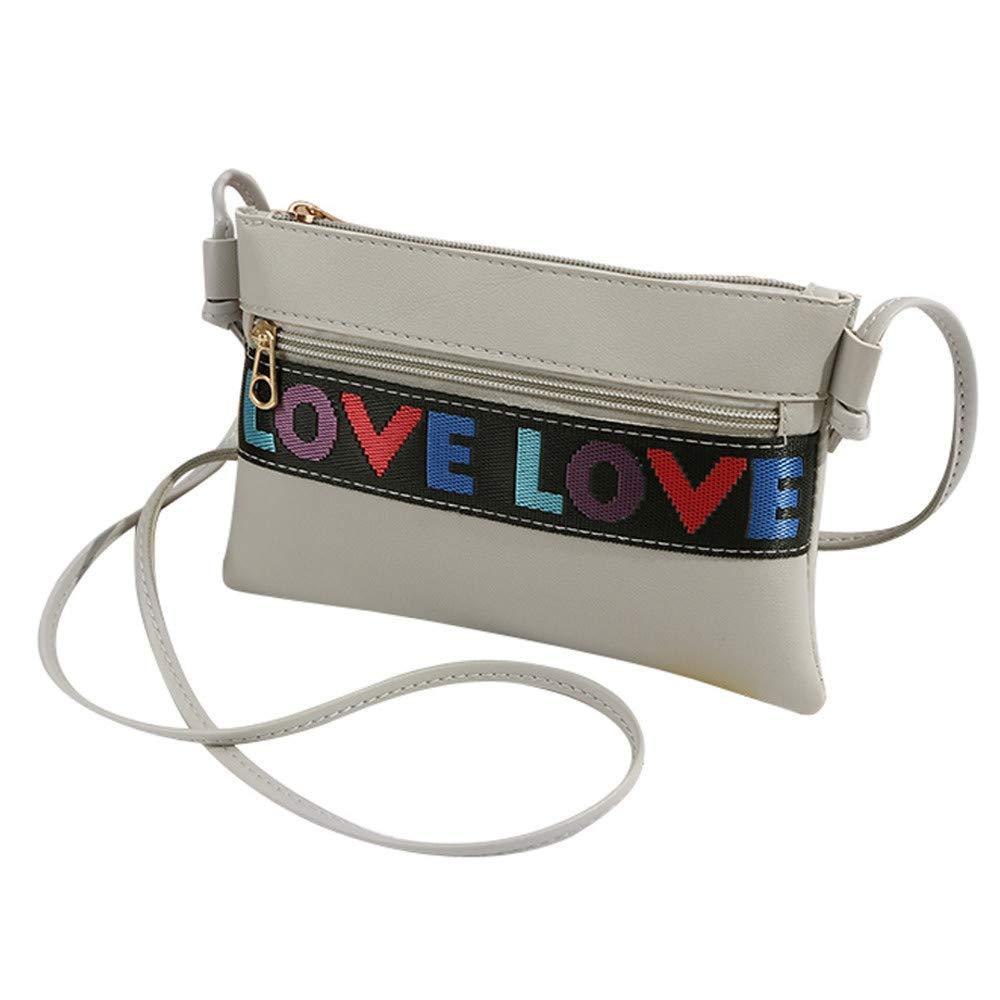 Women's Love Crossbody Bag Clearance, Iuhan Women Letter Shoulder Bag Messenger Satchel Tote Crossbody Bag Phone Bag Big Promotion (Gray)
