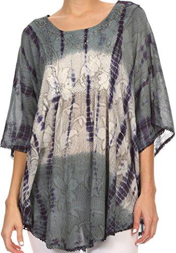 Sakkas 14031 - Ellesa Ombre Tie Dye Circle Poncho Blouse Shirt Top with Sequin Embroidery -Grey/Cream - OS