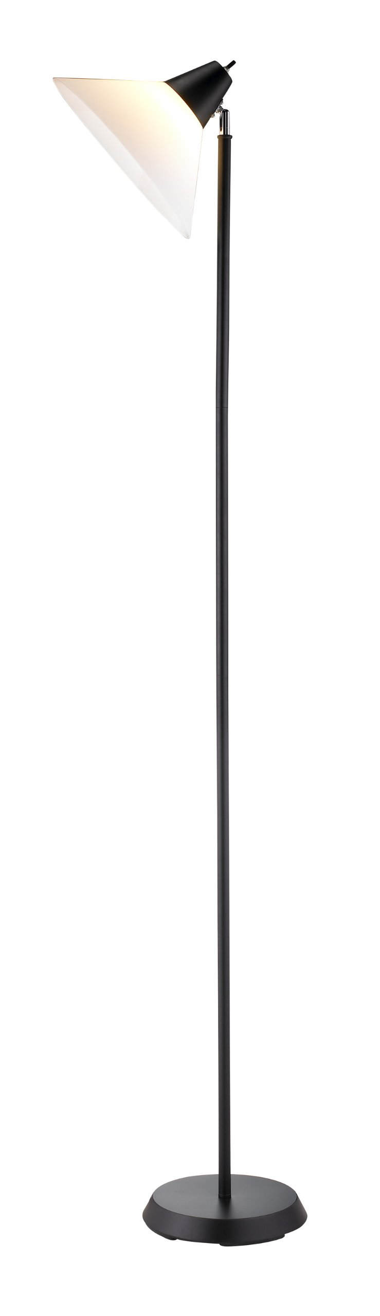 Adesso 3677-01 Swivel Floor Lamp, Black Finish - With it's versatile design, this lamp easily integrates into the home office, dorm, living room or studio décor The adjustable white plastic shade allows light to be directed horizontally and vertically On/Off Rotary Socket Switch - living-room-decor, living-room, floor-lamps - 51ojP%2B hkKL -
