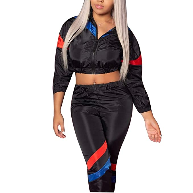 837e72b9aee4 GTMOER Women s Sexy Long Sleeve Jumpsuits Romper Color Block High Waist  Pants Tracksuit with Zipper Plus