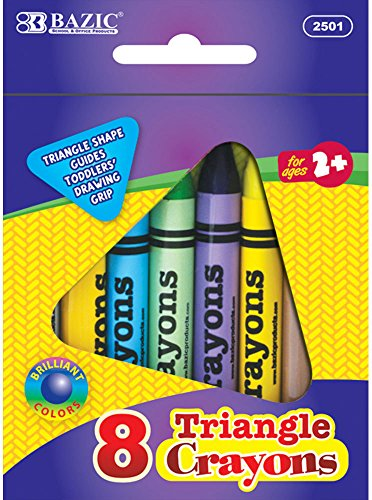8 Color Premium Super Jumbo Triangle Crayons 72 pcs sku# 1892834MA by Bazic