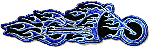 Blue Flame Motorcycles Model Ghost Rider Logo Rider Jacket Back Patch Sew Iron on Embroidered Badge Custom