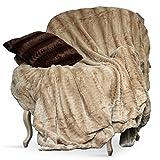 Swift Home Micro-Mink Full/Queen Faux Fur Blanket, Tan