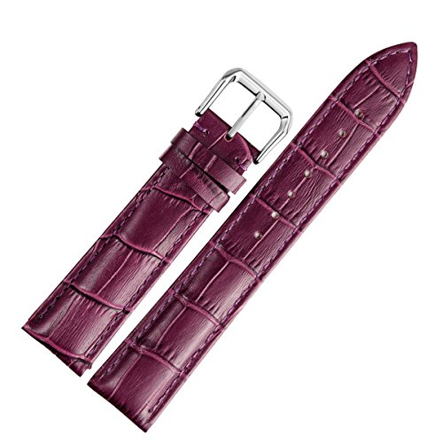 12mm Women's Purple Leather Watch Band Straps Replacement Genuine Calfskin Crocodile Embossed