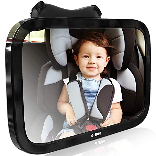 Baby Car Mirror for Rear Facing View of Back Seat. Glance into Rear View Mirror while Driving to See Baby Mirror on Backseat Headrest. Fully Assembled, Shatterproof, Crash Tested, and Certified Mirror