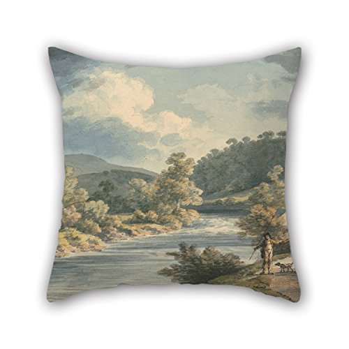 PaPaver 16 X 16 Inches / 40 By 40 Cm Oil Painting John Warwick Smith - A Fisherman In The Vale Of Myfod, Site Of The Palace Of The Princess Of Powis Throw Pillow Covers Two Sides Ornament And Gift (How To Make A Good Vale compare prices)