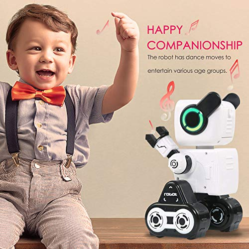 IHBUDS Remote Control Toy Robot for Kids,Touch & Sound Control, Speaks, Dance Moves, Plays Music. Built-in Coin Bank. Programmable, Rechargeable RC Robot Kit for Boys, Girls All Ages - White/Black by HBUDS (Image #4)