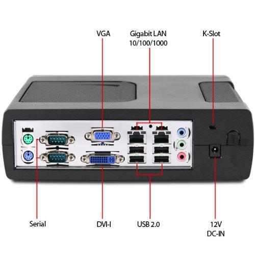 Intel Atom D2500 Dual LAN, Dual COM Fanless Mini-ITX PC, 60GB Solid State Drive, D2500CCE, 2GB, T3410, Mitac PD12TI