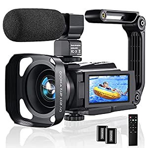 Flashandfocus.com 51ojQaOy1FS._SS300_ 4K Video Camera Camcorder, 48MP 60FPS YouTube Camera WiFi IR Night Version Vlogging Camera 3.0 Inch Touch Screen 16X…