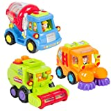 (Set of 3) Friction Powered Car Toy Trucks Pretend Play