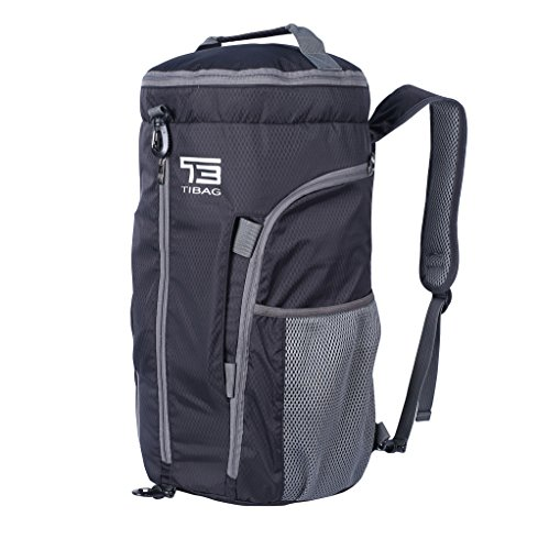 TB TIBAG 35L/40L Packable Lightweight Waterproof Travel Sports Duffel Backpacks Bag (35L, BLACK)