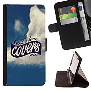 Momo Phone Case / Flip Funda de Cuero Case Cover - Amor BIBLIA Dios me Cubiertas; - Samsung Galaxy E5 E500