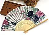 Colorful1 Folding Hand Fan Fabric Floral Plum Blossom Flower Print Folding Hand Fans Abanicos Para Boda