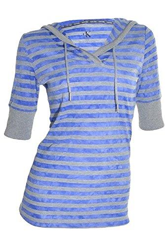 Calvin Klein Womens Long Waisted 3/4 Sleeve Hooded Henley S Blue & Gray