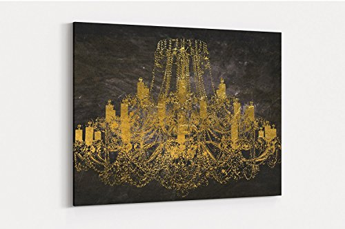 - Fashion wall pop art print - Illustration - Chandelier with Gold - Chic Glam Vogue poster on Canvas 20
