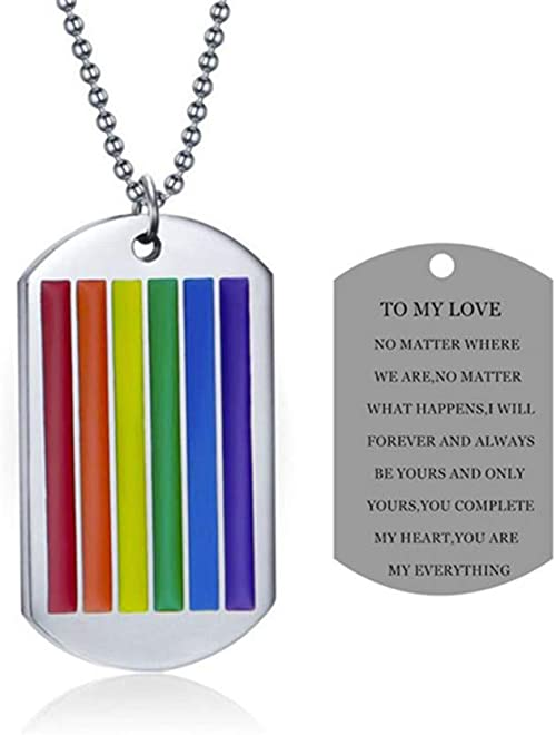 Stainless Steel Girl Rainbow Lesbian Gay Pride LGBT Pendant Necklace Dog Tag