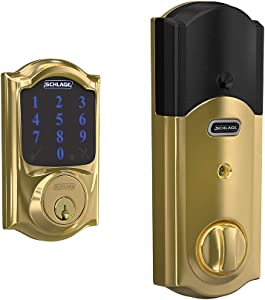 Schlage Lock Company BE469ZP CAM 605 Schlage Connect Smart Deadbolt with alarm with Camelot Trim in Bright Brass, Z-Wave Plus enabled,