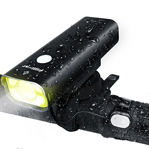 Fillixar USB Rechargeable Bike Light Front 800 Lumens, Bicycle Light With Wired Remote Control, LED Bike Headlight, Waterproof Front Bike Light - Black