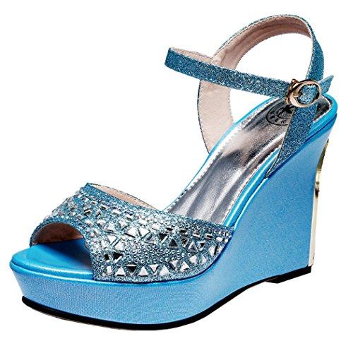 Guciheaven Women New Style Beautiful Cute Platform Peep-toe Sandals Shoes(5 B(M)US, Blue)