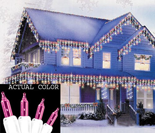 Sienna Pink Mini Icicle Christmas Lights with White Wire, Set of 100 (Pink String Lights)