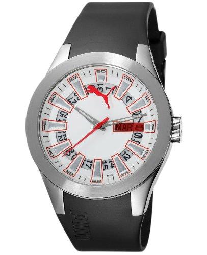 Puma Time Men's Quartz Watch Fan Gents Silver White PU102411001 with Rubber Strap