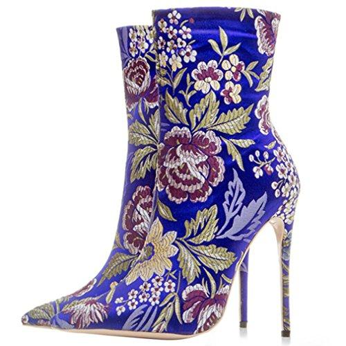 ENMAYER Zapatos de satén para mujer delgados tacones altos Botines de punta y del tobillo con punta en invierno Azul