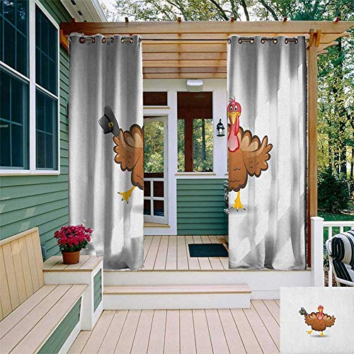 (leinuoyi Turkey, Outdoor Curtain Pair, Dancing Cartoon Animal with Pilgrims Hat Thanksgiving Dinner with a Funny Character, for Patio W84 x L108 Inch Multicolor)