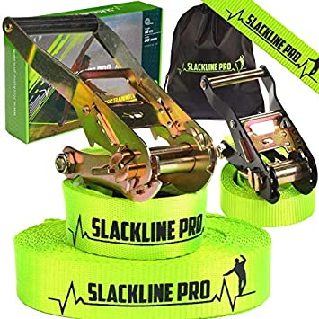 Outdoor American Warrior Tightrope Backyard Ninja Obstacle Course for Kids PRO Slackline Kit with Training Slack Line Slacklining Set Adults Adults Balance Tight Rope for Trees Family Green 65ft Slackline Pro