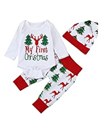 i-Auto Time My First Christmas Outfit Set for Baby Boy Girl,Newborn Romper Pants Hat