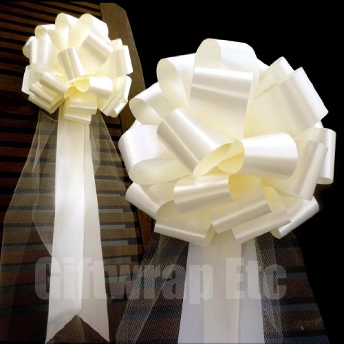 Large Ivory Wedding Pull Bows with Long Tulle Tails - 9