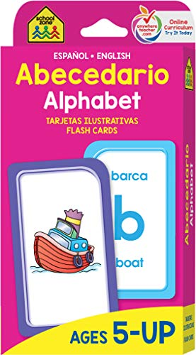 School Zone - Bilingual Alphabet Flash Cards - Ages 5 and Up, ESL, Language Immersion, Phonics, ABCs, Alphabetical Order, and More (Spanish and English Edition) (Spanish Edition) (Animals That Start With The Letter V)