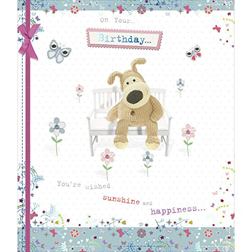Bench Greeting Card - Boofle Sat On A Bench Female Happy Birthday Luxury Greeting Card