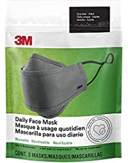 3M Daily Face Mask, Reusable, Washable, Adjustable Ear Loops, Lightweight Cotton Fabric, 3 Pack