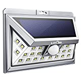 LITOM Solar Lights, Silver 24 LED Motion Sensor Solar Lights Outdoor, Super Bright Wide Angle Security Light for Front Door, Yard, Garage, Deck, Porch, Shed, Walkway, Fence