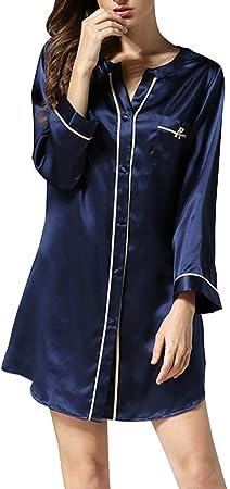 HONGNA Pijamas Verano Camisa De Estilo Sexy Pieza For Mujer Pijamas 100% Tela De Seda Camisón Ropa Casual For El Hogar (Color : Blue, Size : L): Amazon.es: Hogar