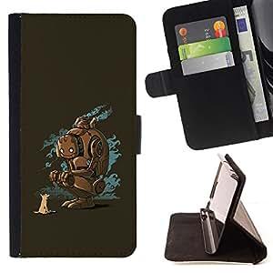 - FRIENDS ART ROBOT FUTURE FOX DOG ANIMAL - - Prima caja de la PU billetera de cuero con ranuras para tarjetas, efectivo desmontable correa para l Funny HouseFOR Apple Iphone 5C