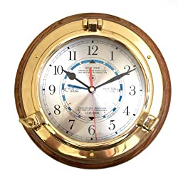 Brass Porthole Time and Tide Clock