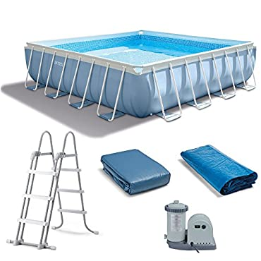 intex 28763eh 14 x 42 prism xl frame square above ground pool set with
