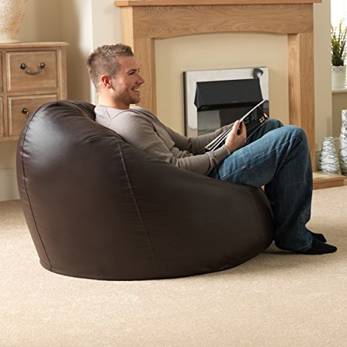 inkcraft Bean Bag with a Protective Liner Plus Removable Faux Leather Cover - Bean Bag Suitable for Indoor/Outdoor Use-Without Beans 3XL Extra Large (Brown) (Leather Bag Brown Bean)