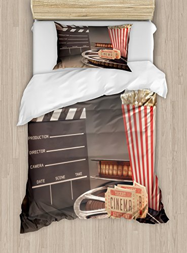 Ambesonne Movie Theater Twin Size Duvet Cover Set, Old Fashion Entertainment Objects Related to Cinema Film Reel Motion Picture, Decorative 2 Piece Bedding Set with 1 Pillow Sham, Multicolor by Ambesonne