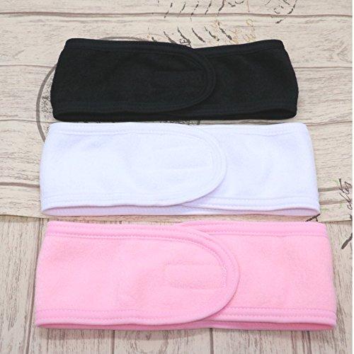 Terry Spa Hair Band (3Pcs Spa Facial Headband Make Up Wrap Head Terry Cloth Headband Stretch Towel with Magic Velcro, Pink,White, Black)