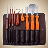 MeiGuiSha 10 Pieces Professional Wooden Pumpkin Carving Tools Kit - 13 Cuts, Scoops, Scrapers, Saws, Loops, Knives with Reusable PU Case Set