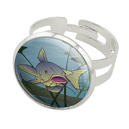 Catfish Swimming Costumes (Catfish Swimming in Water Silver Plated Adjustable Novelty Ring)