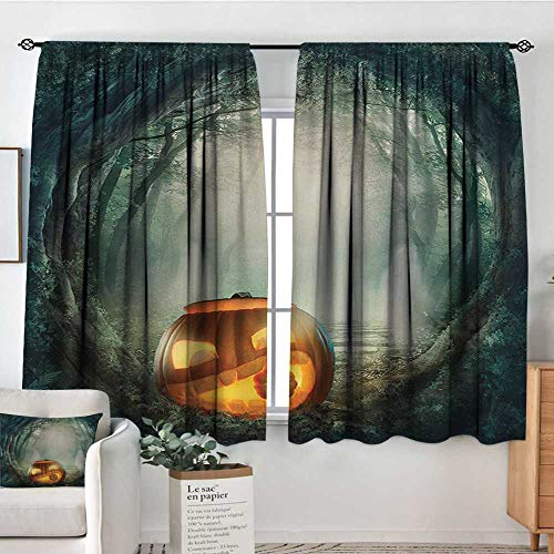 Halloween Custom Curtains Drawing of Scary Halloween Pumpkin Enchanted Forest Mystic Twilight Party Art Patterned Drape for Glass Door 63