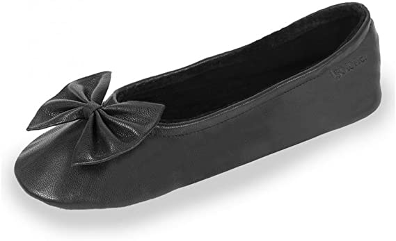 Isotoner Chaussons ballerines femme en cuir (97086) taille