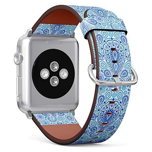(Boho Chic Paisley Pattern with Mandala Design Element on Elegant Oriental Background) Patterned Leather Wristband Strap for Apple Watch Series 4/3/2/1 gen,Replacement for iWatch 38mm / 40mm Bands -