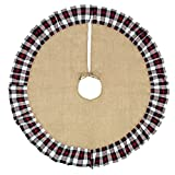 48 Inch Decorative Pattern Christmas Tree Skirt (Winter Red and Black Plaid)